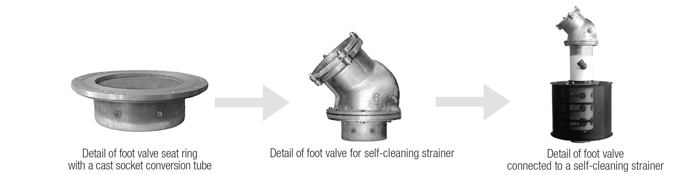 foot valve with self cleaning strainer